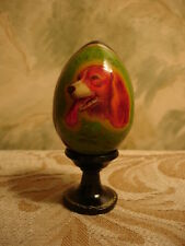 Russian Lacquer Artist Hand Painted Egg with a Painting of a Dog end XX cnt Exln