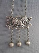 Old Chinese Sterling Silver Carved lion Shape Amulet Pendant 29g