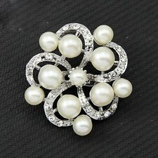 Bling Silver Plated Rhinestone and White Pearl Flower Party Gift Brooch Pin