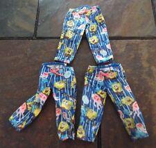 BARBIE DOLL CLOTHES - 3 PAIRS of SPONGE BOB SQUARE PANTS PRINT CAPRI