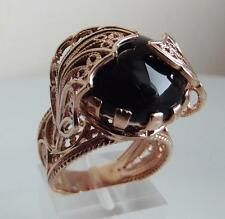 OTTOMAN BLACK AGATE GEM ROSE GOLD PL STERL SILVER RING size: UK-P;US-8.0 NEW QVC