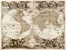 MAP ANTIQUE NOLIN 1708 WORLD ATLAS HISTORIC LARGE REPLICA POSTER PRINT PAM1152