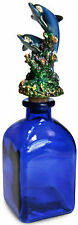 BEAUTIFUL DECORATIVE 2 DOLPHIN CORK BOTTLE - COBALT BLUE COLORED GLASS