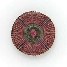 Heidi Daus Belgium Disc Pin Ruby Color INSANELY GORGEOUS MUST HAVE SWAROVSKI!!!