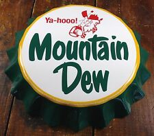 YAHOO! MOUNTAIN DEW WITH MOONSHINE JUG HILLBILLY LOGO BOTTLE CAP METAL SIGN