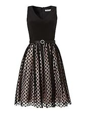 Eliza J Spot mesh skirt dress Size 8 Black Box1021 r