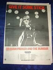 "GRAHAM PARKER Give it some stick 1977 UK Poster size Press ADVERT 16x12"""