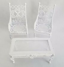 Dollhouse Miniature White Wicker Metal Outdoor Arm Chairs & Table Fairy Garden