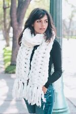 TS Handmade Winter White Heavy Chunky Sweater Yarn Super Soft Cable Knit Scarf