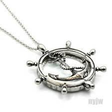 "New Silver Magnifying Glass Wheel with Anchor Pendant 31"" Chain Necklace SJ011S"