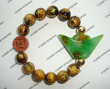 Feng Shui - Green Jade Ingot & I-Ching Coin with 12mm Yellow Tiger Eye Mant