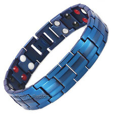 100% Blue TITANIUM Magnetic Energy Power Health Bracelet 4in1 Bio Armband