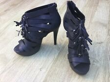 BNWOT RRP £89 OFFICE GLADIATOR HEELS SHOES SANDALS NEW BLACK LEATHER SIZE 7 (40)