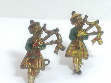 Pair of Authentic Antique Scottish Bagpipers Scatter Figural Pins 11658