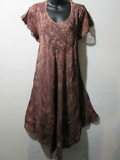 Dress Fits XL 1X 2X 3X 4X Plus Tunic Brown with Gold Wash Lace Sleeves NWT G517