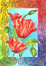 Akimova: POPPIES, still life, red, green, watercolor, ACEO