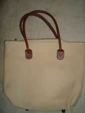 MILANO BEIGE TAN SAND KHAKI BROWN CANVAS BEACH TRAVEL TOTE BAG PURSE NWOT