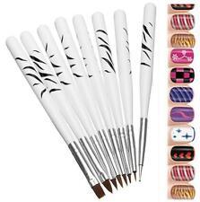 White Acrylic Nail Art Painting Flowers Brush Nail Dotted Flower Pen Set 8 pcs