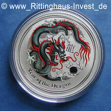 Lunar II dragón negro Black Dragon moneda de plata 1oz WMF Berlin de colores coloriert