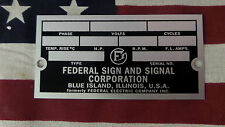 Federal Sign and Signal Air Raid / Civil Defense Siren Rectangular ID Plate