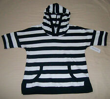 New! Weekend Navy Blue and White Striped Woman's Hoodie, Size M
