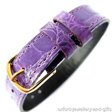 14mm ONE PIECE CABOUCHON WATCH STRAP. PURPLE CROC GRAIN LEATHER. EASY TO  FIT.
