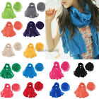25Color Women Long Big Crinkle Voile Scarf Wrap Shawl Stole Pure Candy hot et