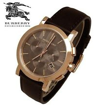 New Burberry Men's BU1863 Herringbone Brown Leather Strap Watch