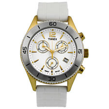 TIMEX ORIGINALS GOLD TONE,WHITE RUBBER BAND,WHITE CHRONOGRAPH DIAL WATCH-T2N827
