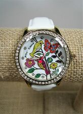 Betsey Johnson Mother of Pearl Birds Flowers Crystals Leather Band Watch