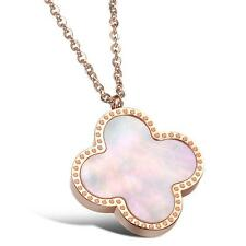 Rose Gold Plated Stainless Steel Necklace with Natural Beads, Clover Necklace