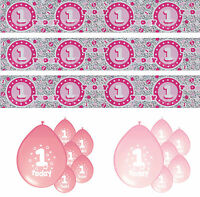 1st BIRTHDAY GIRL PINK PARTY BANNERS & BALLOONS UNDER ONE LISTING (PA)