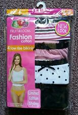 4 Pack FRUIT OF THE LOOM Womens Underwear Size 6 Low Rise Bikinis Tagless