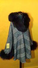 Elegant wool poncho/cape/shawl/coat with real fox fur trim