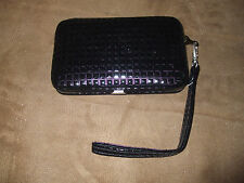 Black Patent Leather Quilted Squares Snap Cell Phone Wallet Case w/Wrist Strap