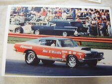1968 PLYMOUTH BARRACUDA SOX $ MARTIN CAR ON TRACK   11 X 17  PHOTO /  PICTURE