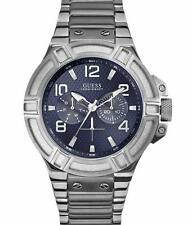BRAND NEW GUESS W0218G2 SILVER STAINLESS STEEL & ACRYLIC BLUE DIAL MEN'S WATCH
