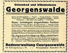 GEORGENSWALDE Ostpr. Ostseebad & Villenkolonie Historische Reklame von 1919