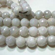 """Natural White Agate 12mm Faceted Round Large 2mm Hole Beads 7.5"""" Wrap Wire DIY"""