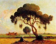 Oil Ferdinand du Puigaudeau Breton Woman Seated under a Large Tree Hand painted