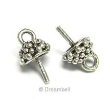 2 Sterling Silver eye pin  6mm cup pearl pendant connector Bail Dreambell