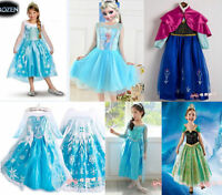 NEW Style Frozen Princess Queen Elsa Anna Cosplay Costume Party Fancy Dress 2-8Y