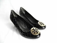 TORY BURCH Black Quilted Patent Leather Gold Logo Medallion Wedge Shoes sz 10