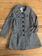 NWT Adore Houndstooth Tweed Skirted Dress Coat MEDIUM Round Collar Wool Bld $155