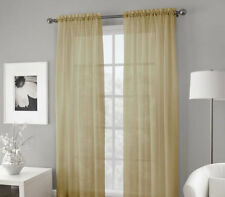 "GOLD 2 PANELS VOILE SHEER FABRIC WINDOW CURTAIN DRAPE ROD POCKET 55""X84"""