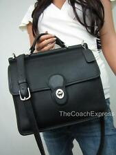 COACH Vintage Black Leather Willis Turnlock Messenger Crossbody #9927