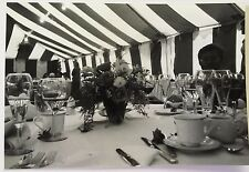 Vintage 90s PHOTO Outdoor Wedding Tent Table Tablecloth Silverware Service