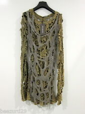 *NWT* BALMAIN SS10 ICONIC DESTROYED CHAINMAIL TOP RARE DECARNIN (ARMY, SIZE 38)