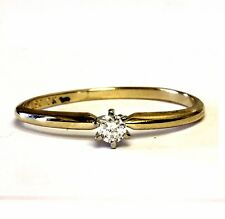 10k yellow gold .10ct SI2 H round diamond solitaire engagement ring 1.1g estate