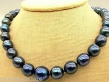 "New 10-11mm Tahitian Black Natural Pearl Necklace 18"" AA+"